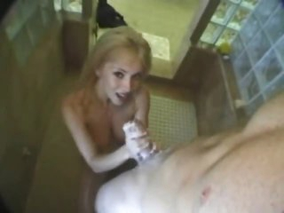 Hot non-professional gives a lusty BJ in the shower