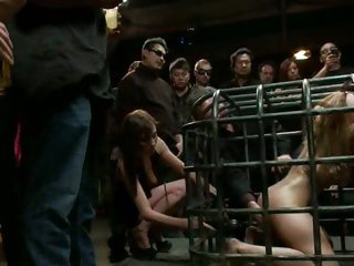 Prisoner Princess Donna sucks jock through her cage