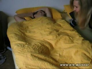 Golden-haired wife wakes up her husband with a nice morning blowjob