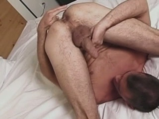 Horny fucker tries to engulf his own dong