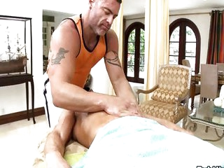 Athletic str8 guys massage surprise