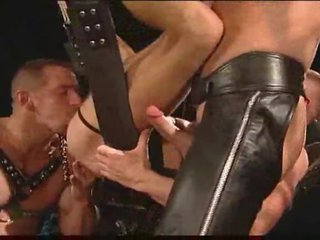 Homosexual leather fellows having intense sex