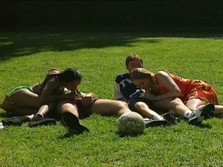 Hot foursome with two youthful babes in the park
