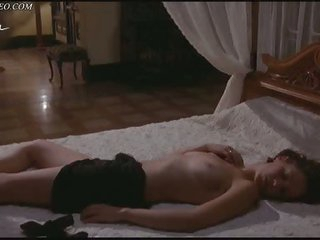 Hot Brunette hair Rachel Laure Laying Topless On a Ottoman After Having Sex