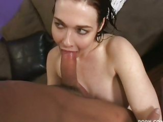 Super slutty Mae Victoria wraps her lips around moist shaft sucking wildly