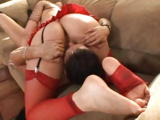 A lovely sixty nine and a footjob from Annette Schwarz