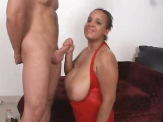 Plump black chick is obsessed with cum