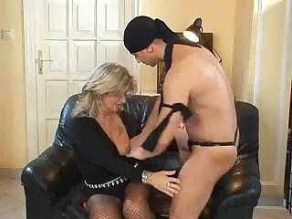 Blond Milf in Fishnet Stockings Fucks