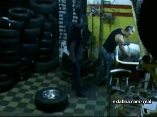 Mechanic pulls panties aside and copulates latina GF