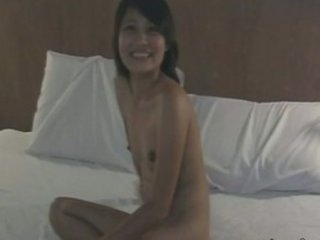 Cute Asian non-professional slurps piles  of cum in her mouth