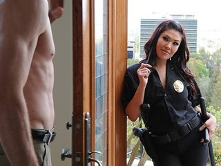 Hot Busty brunette Asian slut cop London Keyes fucks hard dick
