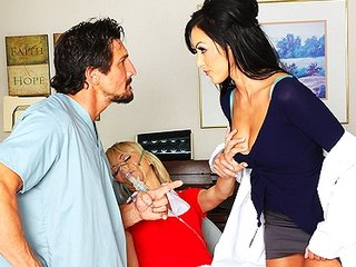 Sexy Dr. Benson, a nympho dentist, fucks assistant & his fiancee