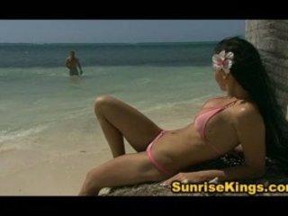 Hot biking girl drilled on the beach and eats cum