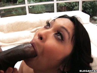 Mika Tan eat off a hard black pecker of a hunky chap
