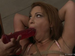 Many Bright forcing a hot playgirl to suck a dildo