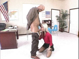 Blonde babe Christine Alexis gets her mouth screwed by some monster meat