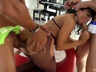 Big boobies lewd brunette slut ricki white enjoying hot gang fuck