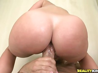 Hot bodied bubble butt brunette Jada Stevens finger fucks her pussy and asshole in the bathroom. She gets so horny that takes Voodoo's pistol with desire.  Her bubble ass swallows his big cock easily.
