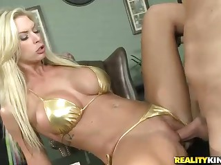 Xander Corvus suspects beautiful blonde hared milf Brooke Banner in spending company's money. After she shows him her new bikini he has no doubt. But busty bikini blonde Brooke Banner is so seductive that he finds himself drilling her horny pussy instea