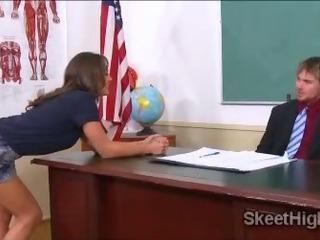 Naughty innocent teen schoolgirl Olivia Wilder needs to fuck her teacher to pass