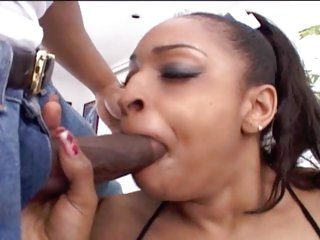Ebony babe Carmen Haze throat fucks a stiff skin flute