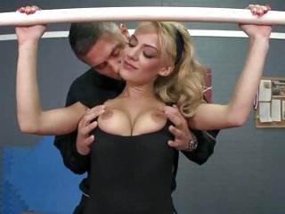 Horny LouLou teases this hunk with her flexible body