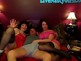 Horny Milfs threesome on webcam