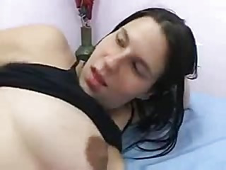 Dark haired pregnant babe gets a fuck