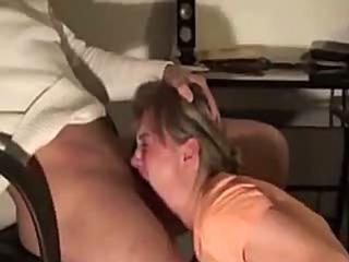 She gives him a great deepthroat blowjob
