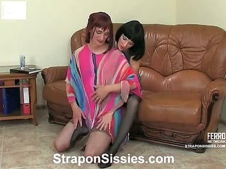 Emilia&Gilbert strapon pussyclothed sex action