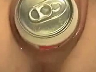 Beer can pushed in vagina