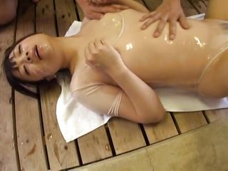 small asian covered in cum