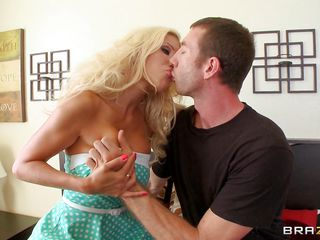 lucky guy playing with milf's boobs