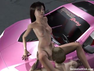 animated slut gets pounded on a car in the street