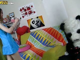 panda bear is in the girl's bedroom