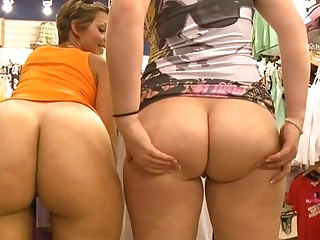 Cuties with great butts engulf dicks and bound on 'em so fast