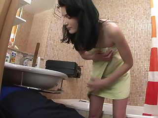 A sexy brunette 19yearold gets it on with her college boyfriend, giving him
