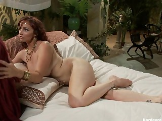 Busty Redhead in Ballpark Interracial Gangbang with Creampie