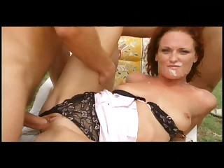 Slutty Redhead Gets Gangbanged Outdoors