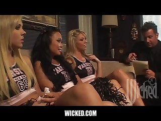 Three Lustful Cheerleaders Fingering Each Other's Pussies In Threesome
