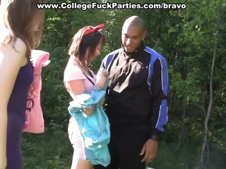 Students in outdoor threesome