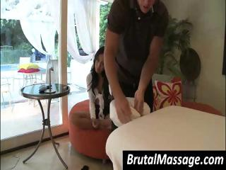 Brunette Amia Miley gets a nice massage from friendly hands