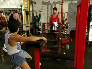 Sassy gangbanged in the gym
