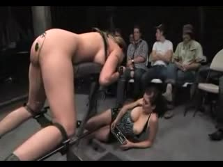 Delilah Strong lengthy BDSM scene with an audience