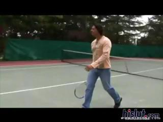 Horny blonde and redhead tennis students get fucked by the instructor on the tennis court