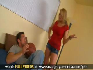 Blonde teacher Alanah Rae sucks and fucks her young student