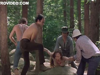 Four Sexually excited Lumberjacks Abuse Camille Keaton Outdoors In The Forest