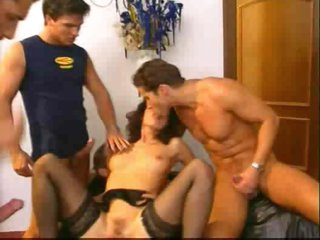 Euro brunette hair in fun team fuck with facials